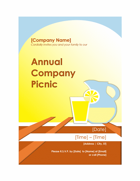 picnic party invitation template sample layouts