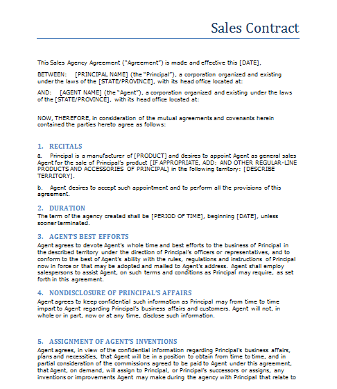 Agreement Contracts Archives Sample Layouts – Sales Contract Sample